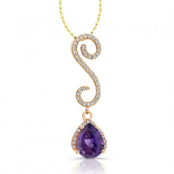 14k Rose Gold Amethyst Diamond Swirl Pendant