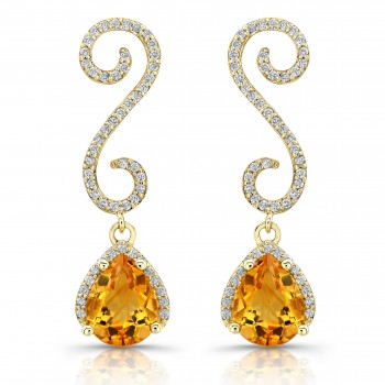 Swril Diamond Earrings With Pear Shape Citrine