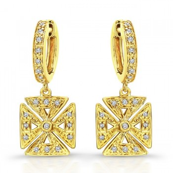 14k Yellow Gold Chopper Cross Earrings 1/5 Ct