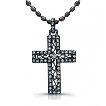 14K White Gold Black Rhodium Elegant Vintage Diamond Cross Pendant