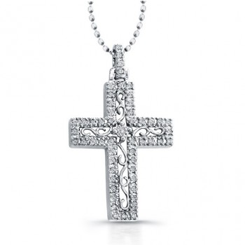 14K White Elegant Vintage Diamond Cross Pendant