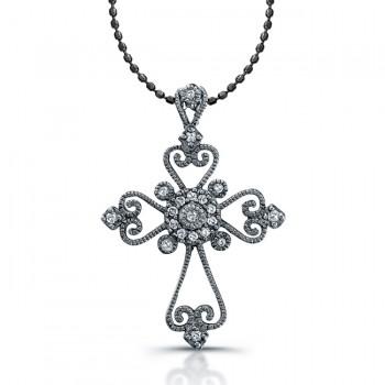 14K White Gold Black Rhodium Cross: Vintage Cross Pendant .11CTW