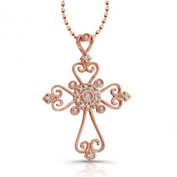 14K Rose Gold Vintage Cross Pendant .11CTW