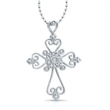 14K White Gold Cross: Vintage Cross Pendant .11CTW