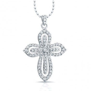 14k White Gold Diamond Cut-Out Cross Pendant