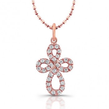 14k Rose Gold Celtic Diamond Cross 0.10Cts