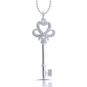Silver Diamond Key With Heart Pendant