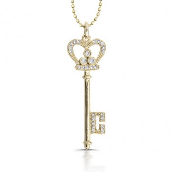 14k Yellow Gold Diamond Crown Key Pendant