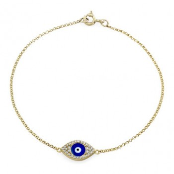 14k YG Diamond Evil Eye Bracelet-Dark Blue Enamel