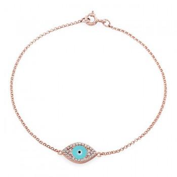 14k Rose Gold Turquoise Enamel Evil Eye Bracelet