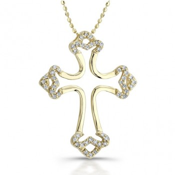 14k Yellow Gold Diamond Micro Prong Open Cross Pendant
