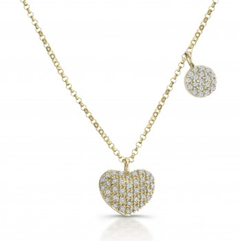 14k Yellow Gold Diamond Pave Heart Neckace