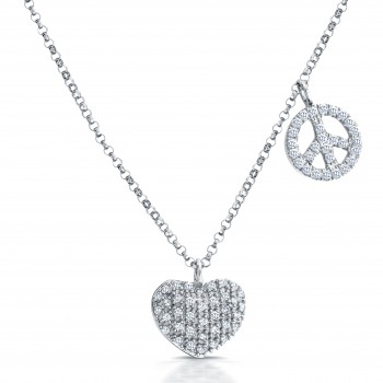14kt White Gold Heart, Peace Sign Diamond Necklace