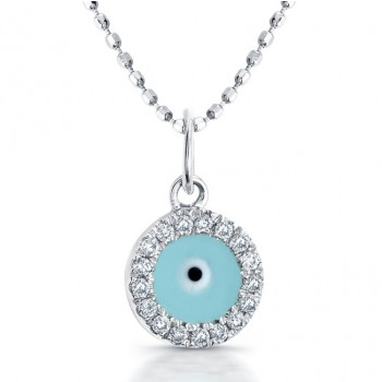 14K White Diamond-Turquoise Enamel Evil Eye