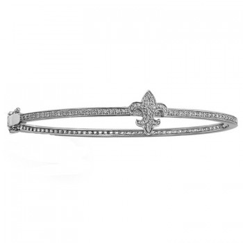 14K wHITE Gold Diamond Fleur De Lys Bangle