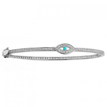 14K WHITE GOLD DIAMOND TURQUOISE EVIL EYE BANGLE
