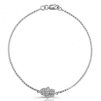 White Gold Pave Diamond Hamsa Bracelet