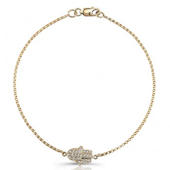 Yellow Gold Pave Diamond Hamsa Bracelet