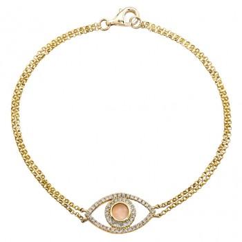 14k Yellow Gold Diamond Evil Eye Bracelet 22741-Y