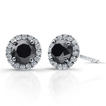 3/4 Carat Black Diamond Stud Earrings with Halo
