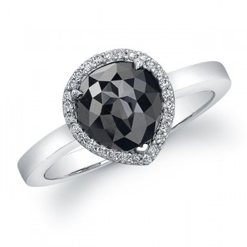 Black Diamond Ring, 14k White, 2.75 Ct Pear Shape