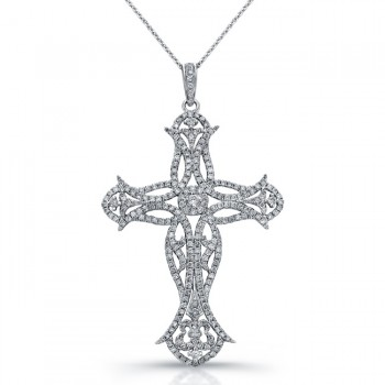 14k White Gold Vintage Diamond Cross Pendant