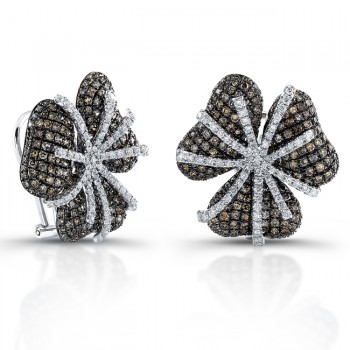 White Gold Pave Brown Diamond Flower Earrings