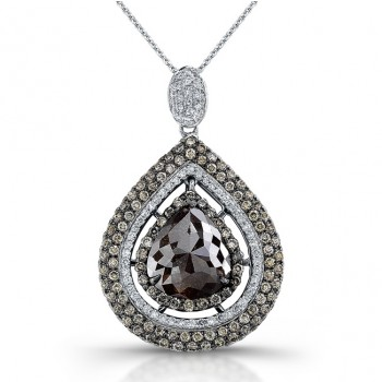 18k White Gold Rose Cut Brown Diamond Halo Pear Shaped Rustic Pendant