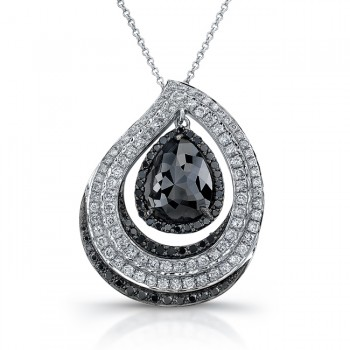 18k White Gold Pear Shaped Black Diamond Pave Pendant