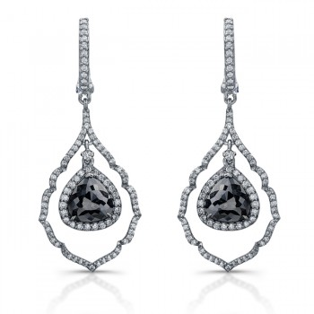 Black Diamond Hanging Drop Earrings