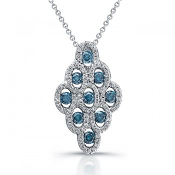 14k White Gold Treated Blue Diamond Honey Comb Pendant