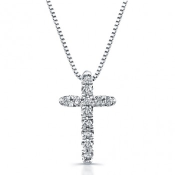 14K White Gold Diamond Baby Cross Necklace