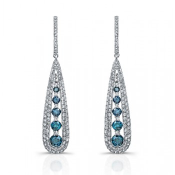 14k White Gold Treated Blue Diamond Fashion Drop Earrings