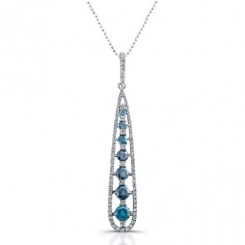 14k White Gold Treated Blue Diamond Fashion Drop Pendant