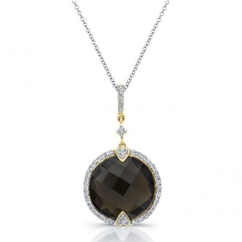 14k Yellow Gold Smokey Quartz Diamond Pendant