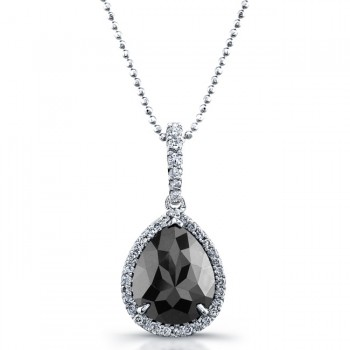 Pear Shape Black Diamond Halo Necklace