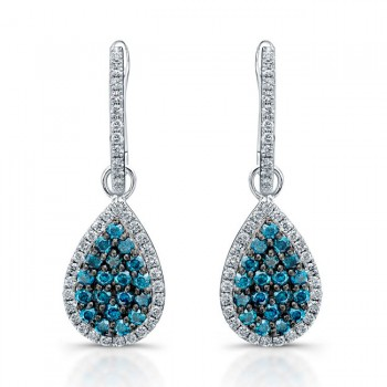 14k White Gold Treated Blue Diamond Earrings