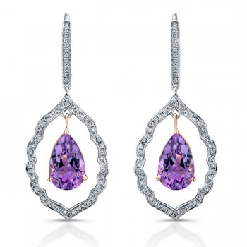 14k White and Rose Gold Pear Shaped Amethyst Diamond Earrings