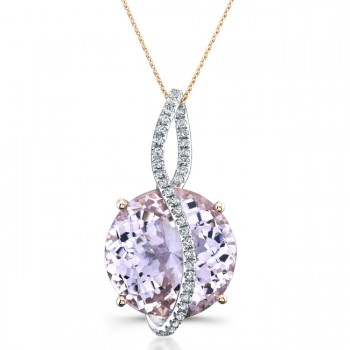14k Rose Gold Amethyst Diamond Pendant