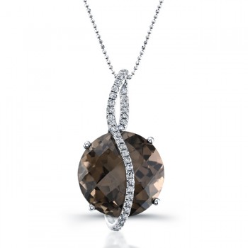 14k Black Gold Smokey Quartz Diamond Pendant