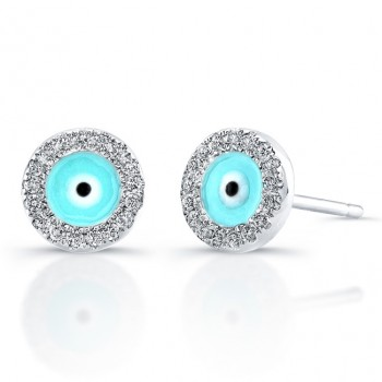 14k White Gold Diamond Evil Eye Earrings