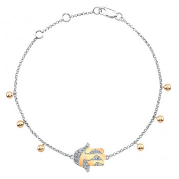 14k White-Rose Modern Diamond Hamsa Bracelet