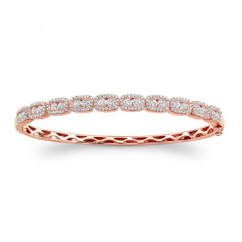14K Rose Gold channel-prong diamond bangle 1.80ctw