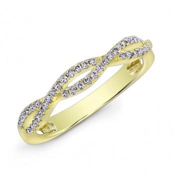 14K Yellow Gold Twisted Diamond Band
