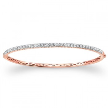 14k Rose Gold Diamond Bangle 1 Carat
