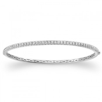 14k White Gold Diamond Bangle 1 Carat
