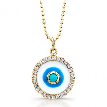 14K Yellow Enamel Evil Eye-Turquoise