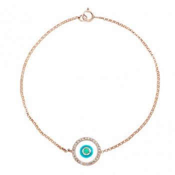 14k Rose -White Enamel Evil Eye Diamond Bracelet
