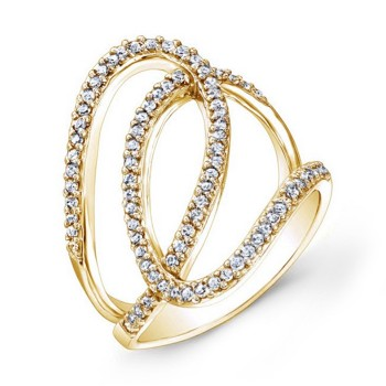 Modern Yellow Gold Diamond Swril Ring