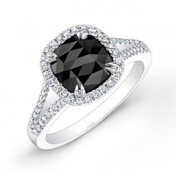 Modern  Cushion Black Diamond Ring